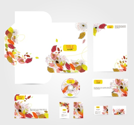 cd label: Vector corporate identity with beautiful flowers