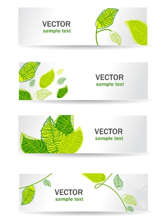 Four light web banners with green leafs Illustration