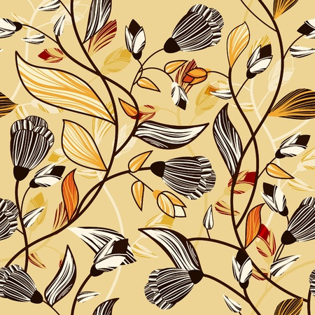 Abstract seamless vector texture with brown drawing flowers