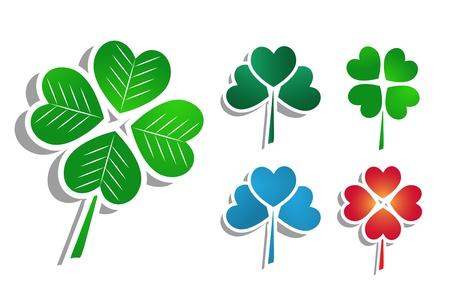 four leafed clover: Clover symbols Illustration