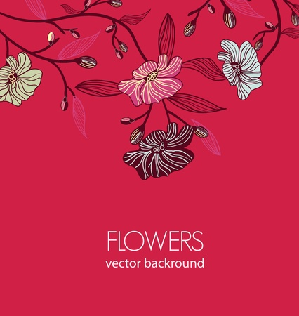 Vector background with old fashioned drawing pink flower Vector