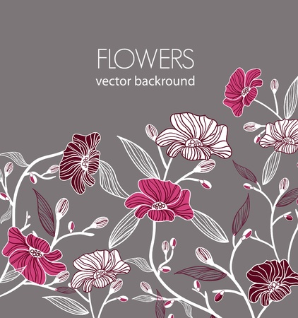 Floral vector background with drawing flowers Vector
