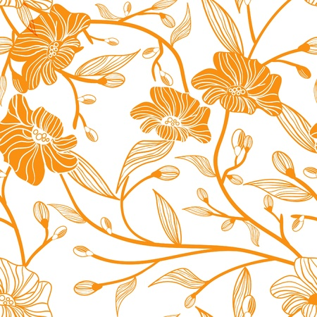 Abstract light vector background with drawing orange flowers Vector