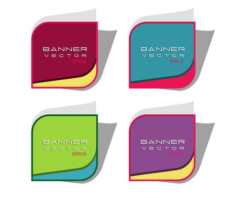 Abstract multicolor vector  square banners with round corners  Vector