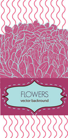 Abstract background with drawing flowers Vector