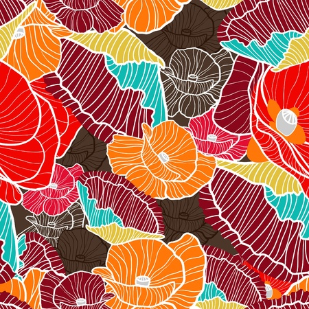 canvas print: Poppies pattern