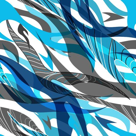 african grey: Abstract blue vector seamless texture with drawing stipes