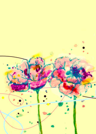Watercolor background with flowers Stock Photo - 11275189