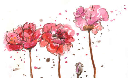 silky: Red watercolor flowers
