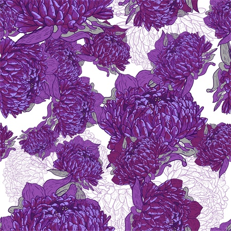 Floral vector seamless texture with drawing flowers Vector
