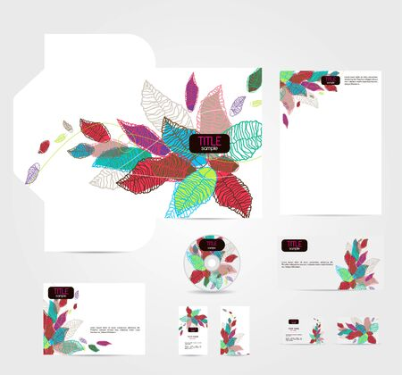 cd label: Vector coraporate style with bright leafs