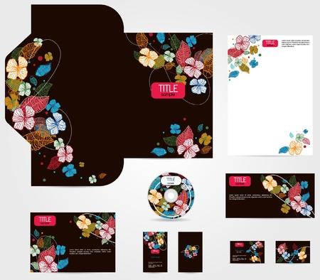 marca libros: Vector de la identidad corporativa de hermosas flores