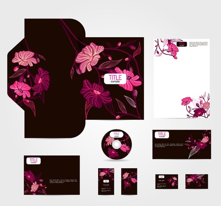 marca libros: Brown vector de estilo corporativo, con flores de color rosa Vectores
