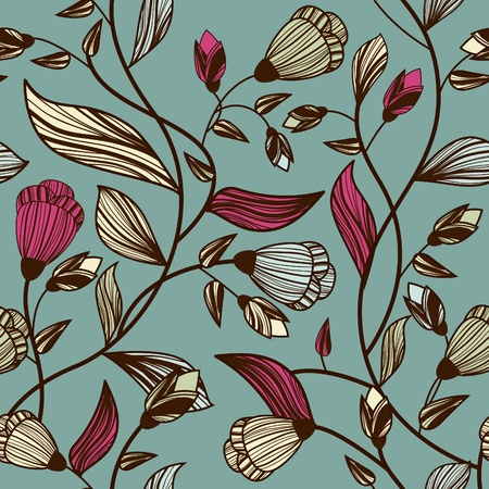 floral print: Vector seamless texture with multicolor drawing leafs