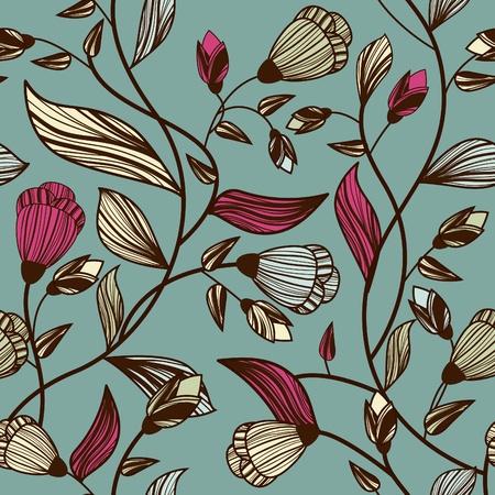 canvas print: Vector sin fisuras texturas con hojas de dibujo multicolor