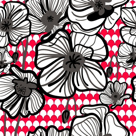 Vector seamless texture with red drawing red poppies Vector