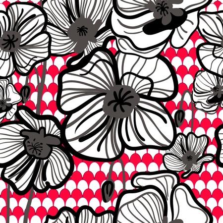 canvas print: Vector sin fisuras textura con dibujo rojo rojo amapola Vectores