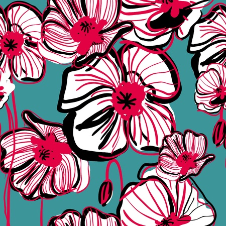 flower art: Original vector drawing seamless texture wih poppy