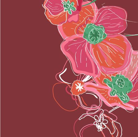 Drawing vector illustration with pink flowers Vector