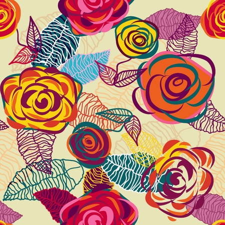 Abstract seamless  vector texture with bright drawing flowers Vector