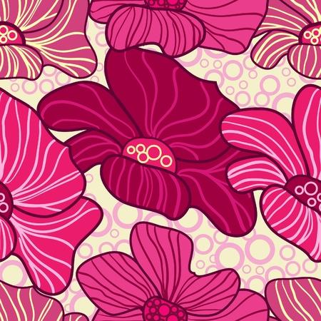 canvas print: Resumen de antecedentes vector de color rosa con flores de dibujo