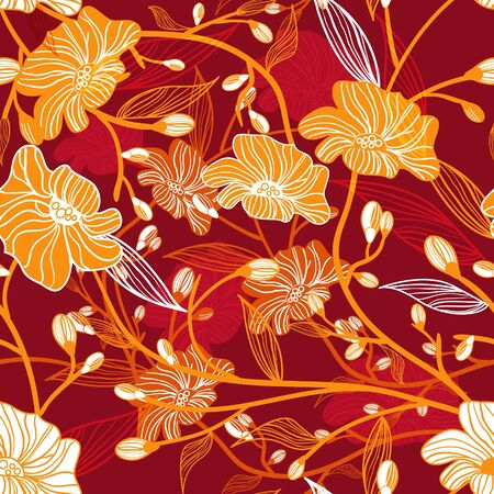 Abstract vector red seamless texture with orange drawing flowers Vector