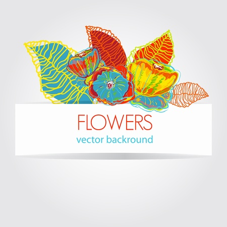 Abstract light vector background with bright flowers Illustration