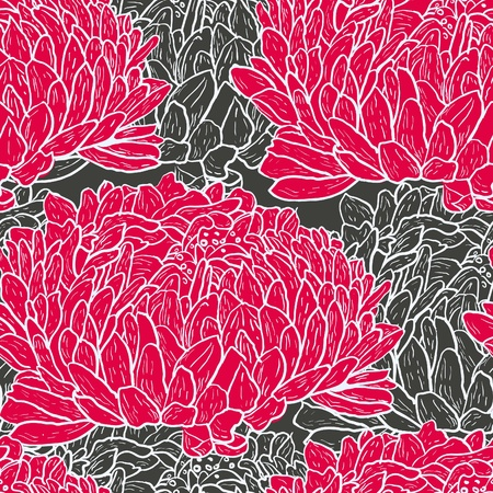 Abstract seamless  vector texture with red peony flowers  Vector