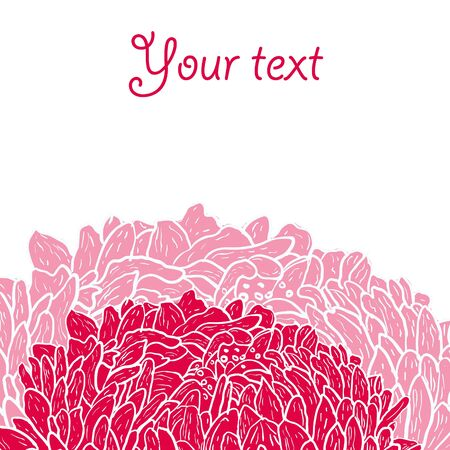 Abstract vector background with red hand drawn flower Vector