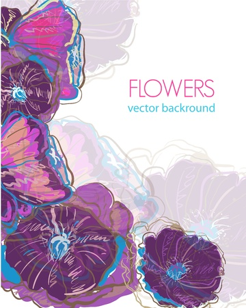 watercolor flower: Floral vector background