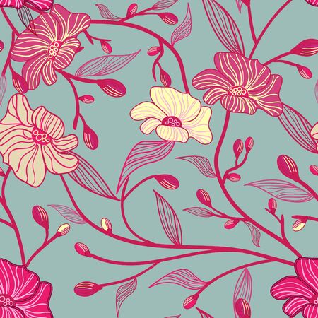 rd: Abstract seamless vector pattern with flowers