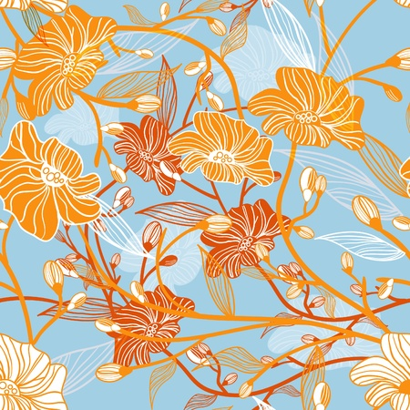 Abstract seamless vector texture with drawing flowers Vector