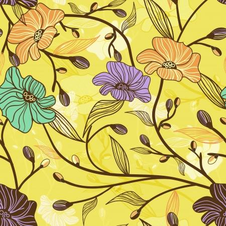 canvas print: Patr�n floral sin fisuras Vectores