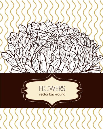 Brown drawing floral background Vector