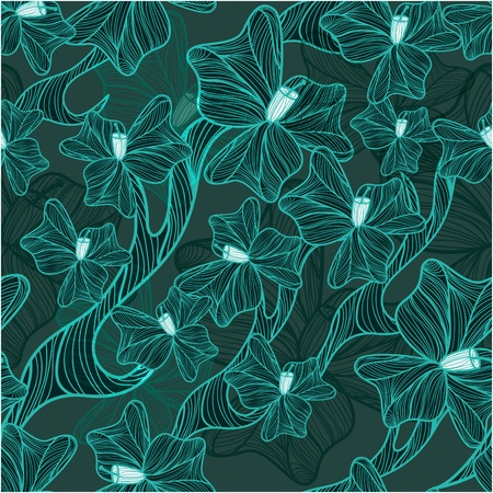 Floral background with drawing flowers