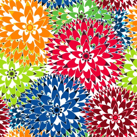 Seamless vector background with abstract flowers