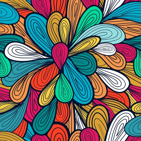 psychedelic background: Abstract seamless vector pattern with bright drawing multicolor drops