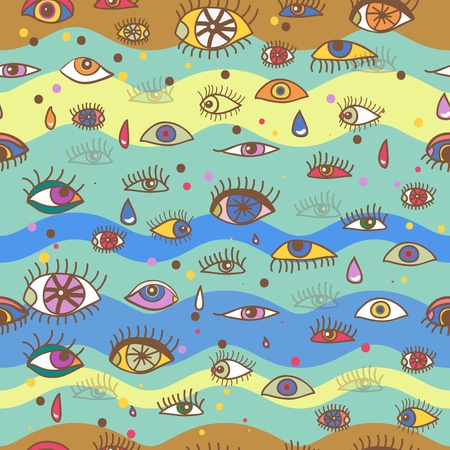 Seamless abstract vector background with drawing eyes