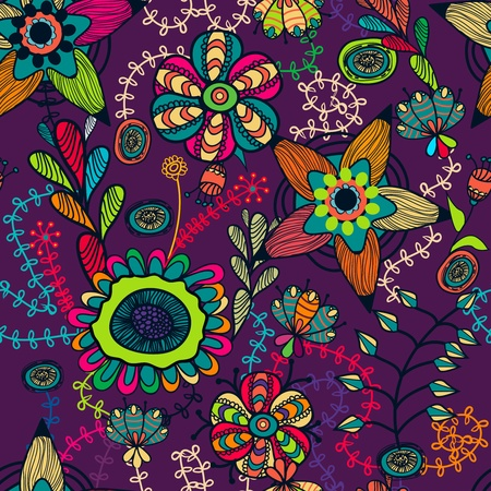 psychedelic background: Abstract seamless vector pattern with bright drawing multicolor flowers
