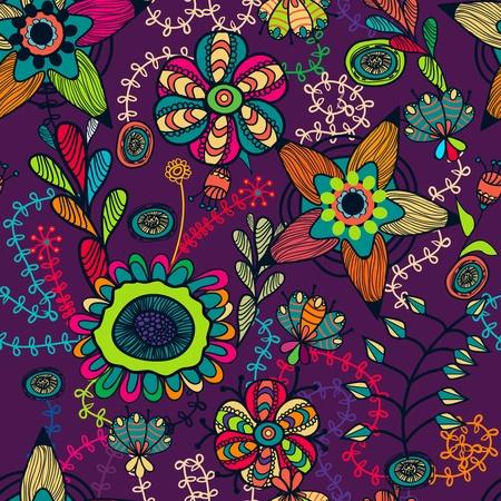Patrón abstracto vector transparente con brillantes dibujos flores multicolores Ilustración de vector