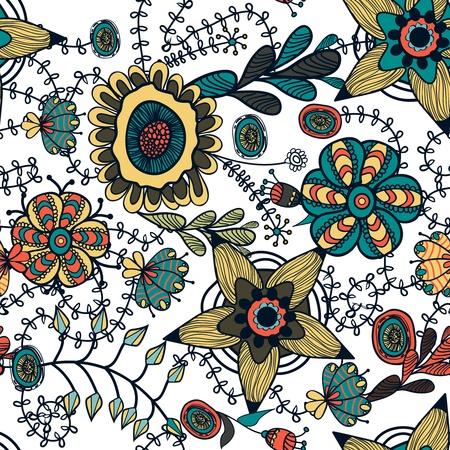 canvas print: Patr�n abstracto vector transparente con brillantes dibujos flores multicolores
