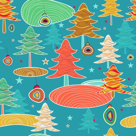 Seamless blue pattern with forest Vector
