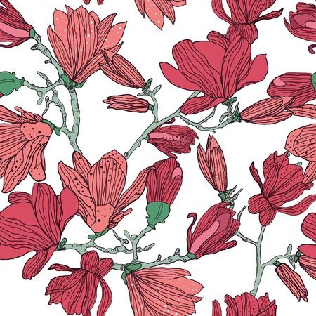 magnolia flower: Seamless vector background with drawing multicolor flowers