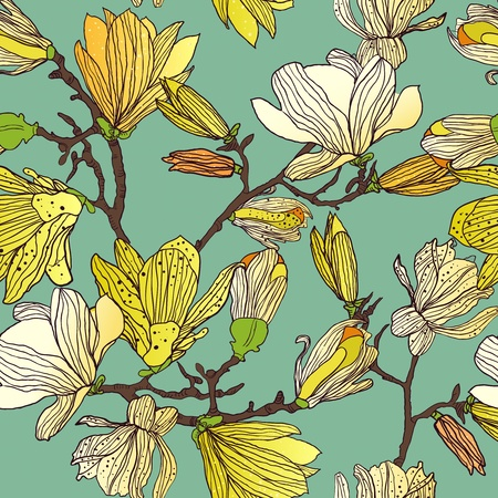 ornamental background: Seamless vector background with drawing multicolor flowers