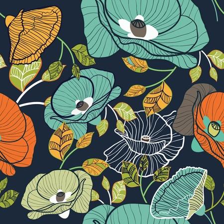 papel tapiz turquesa: Vector de fondo sin fisuras con el dibujo de flores multicolores