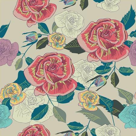canvas print: Vector de fondo sin fisuras con el dibujo de las flores del jard�n multicolor Vectores