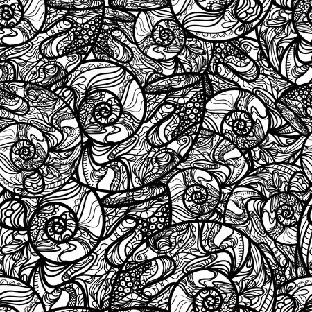 conchas: Textura vector transparente con concha dibujo abstracto Vectores