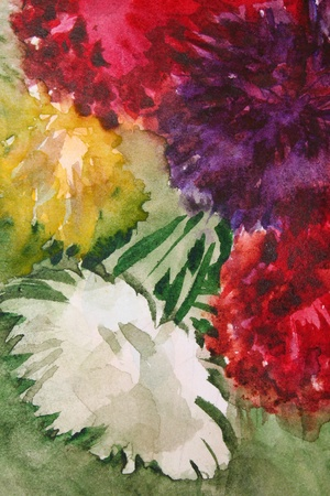 Abstract acrylic background with watercolor splashes photo