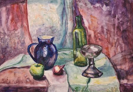 still water: Watercolor still life with fruits and glasses