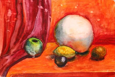 Watercolor still life with fruits and sphere photo